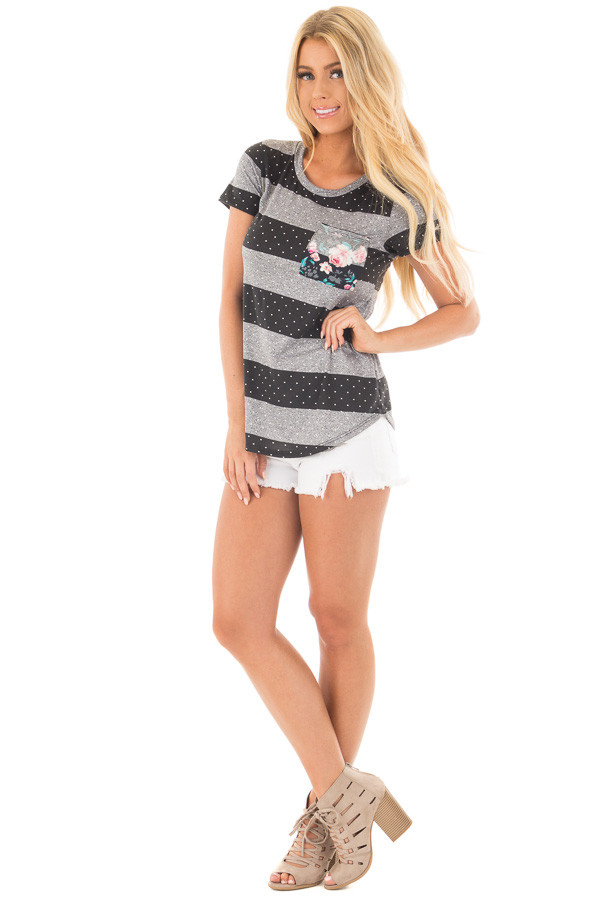 Charcoal and Black Polka Dot and Striped Tee Shirt front full body