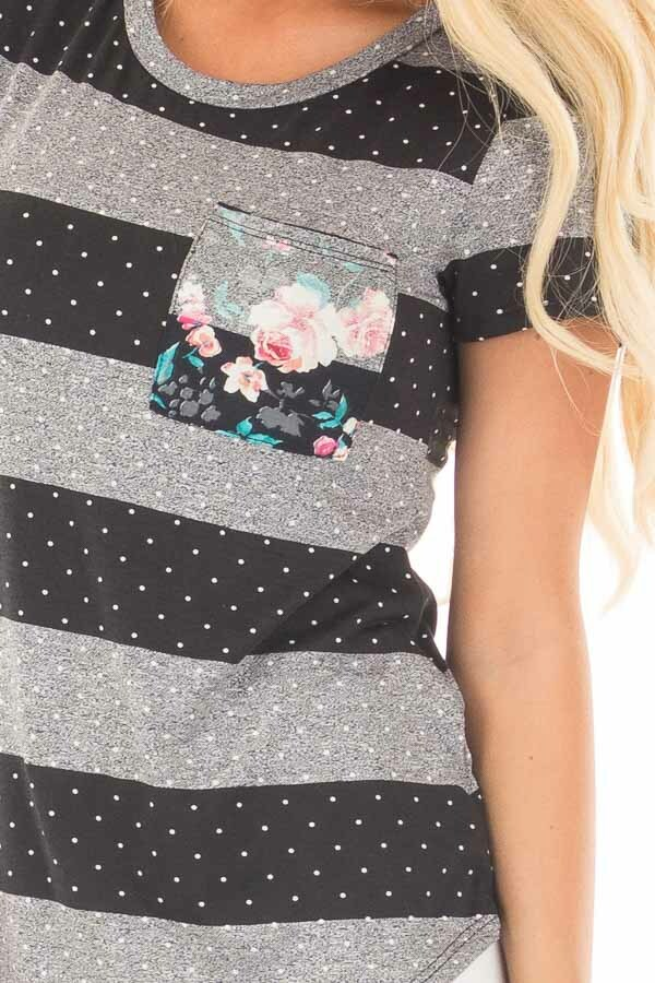 Charcoal and Black Polka Dot and Striped Tee Shirt detail