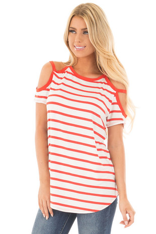 Red Orange Striped Cold Shoulder Cap Sleeve Top front close up