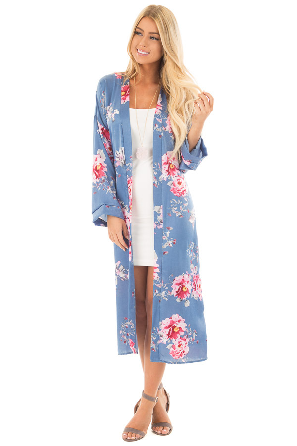 Cornflower Blue Long Flowing Floral Kimono front full body
