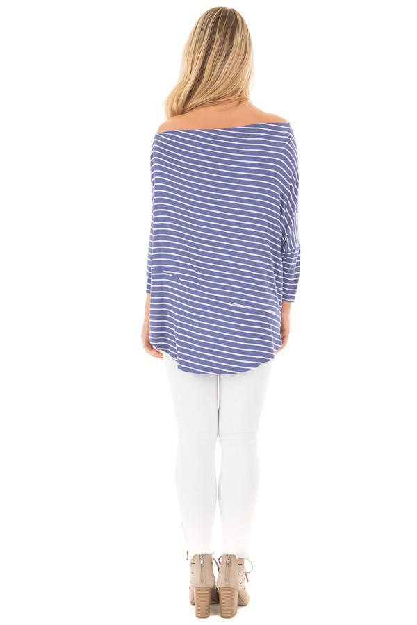 Indigo Striped Off the Shoulder Dolman Top with Tie Detail back full body