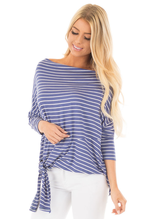 Indigo Striped Off the Shoulder Dolman Top with Tie Detail front close up