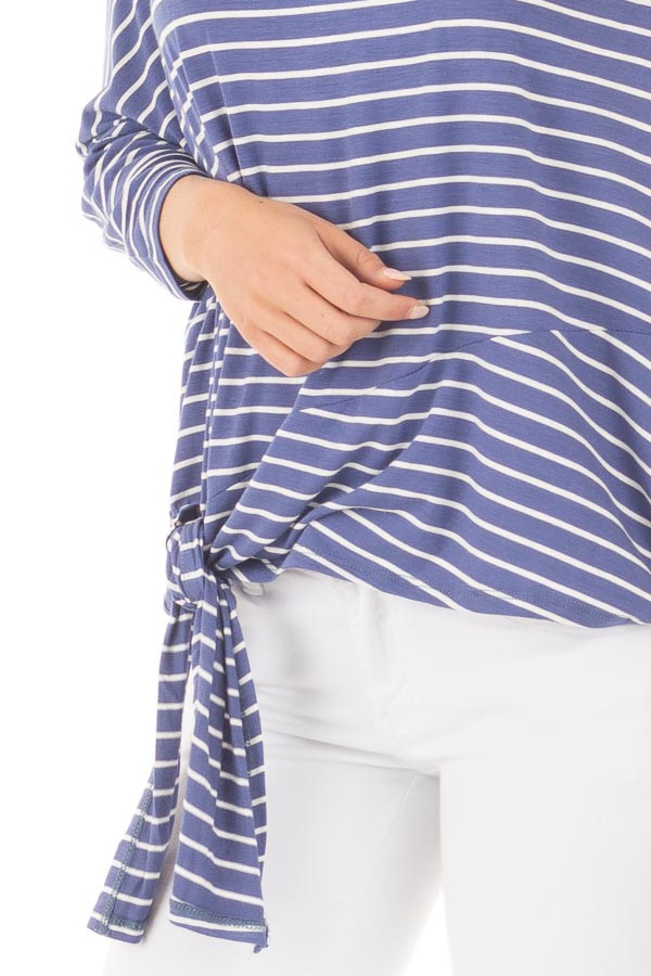 Indigo Striped Off the Shoulder Dolman Top with Tie Detail detail