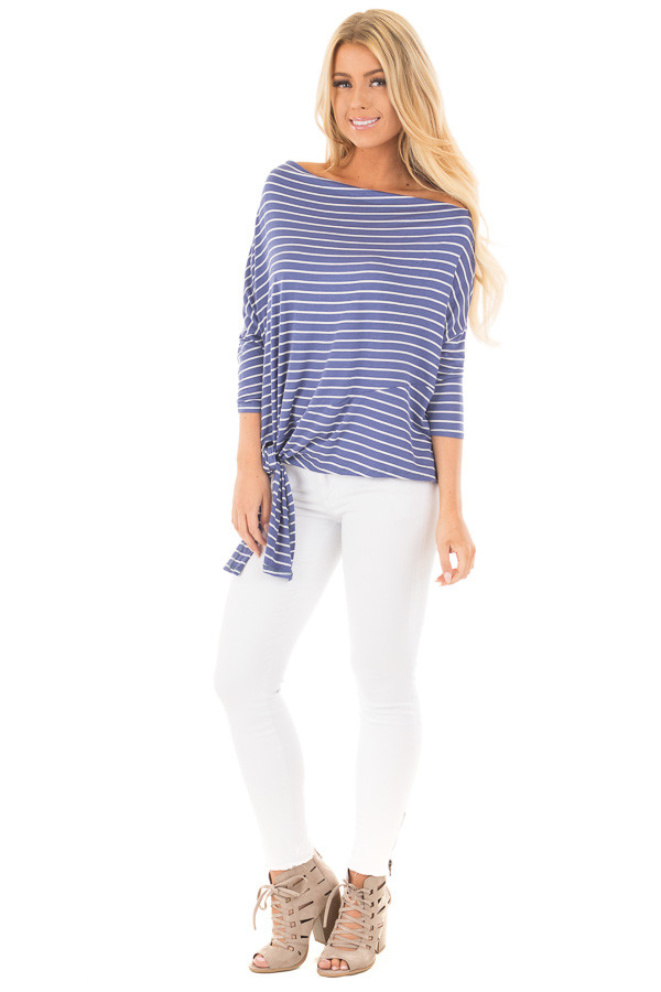 Indigo Striped Off the Shoulder Dolman Top with Tie Detail front full body