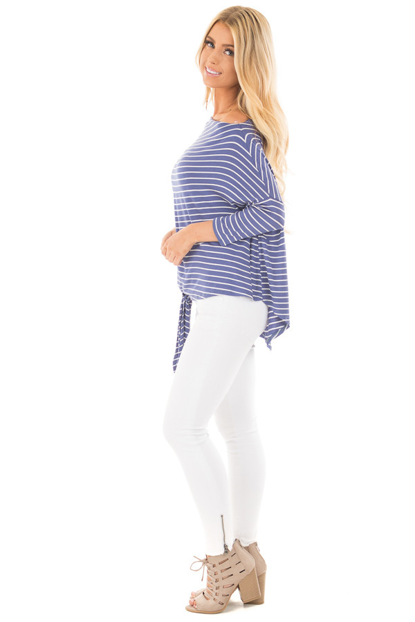 Indigo Striped Off the Shoulder Dolman Top with Tie Detail side full body