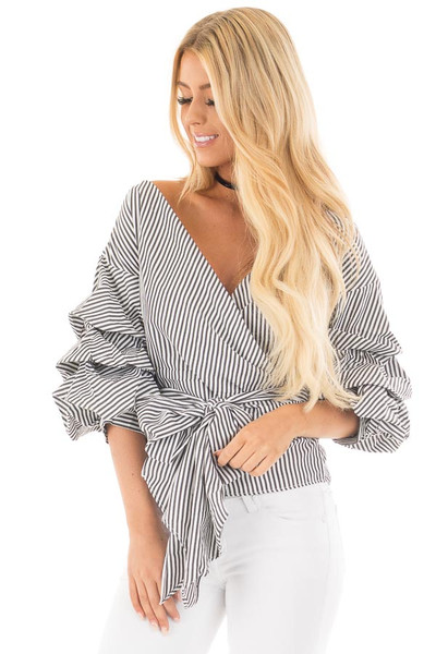 Black Striped Surplice Top with Front Tie and Ruffle Sleeves front close up