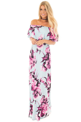 Light Blue and Fuchsia Floral Print Off Shoulder Maxi Dress front full body