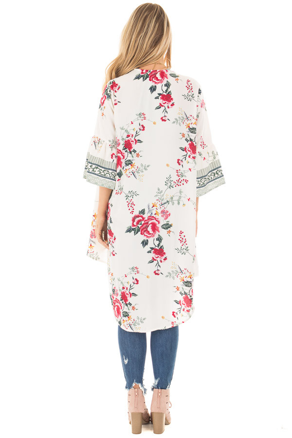 Ivory Floral Print Kimono with Patterned Border Contrast back full body