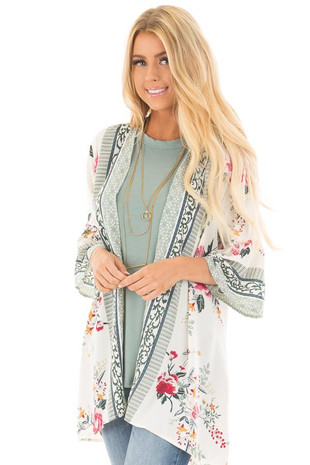 Ivory Floral Print Kimono with Patterned Border Contrast front close up