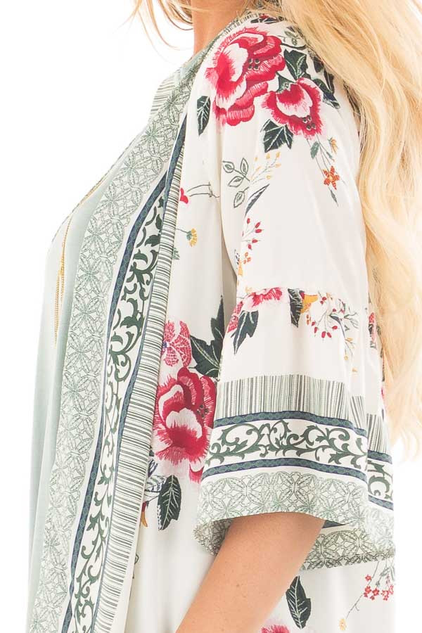 Ivory Floral Print Kimono with Patterned Border Contrast detail