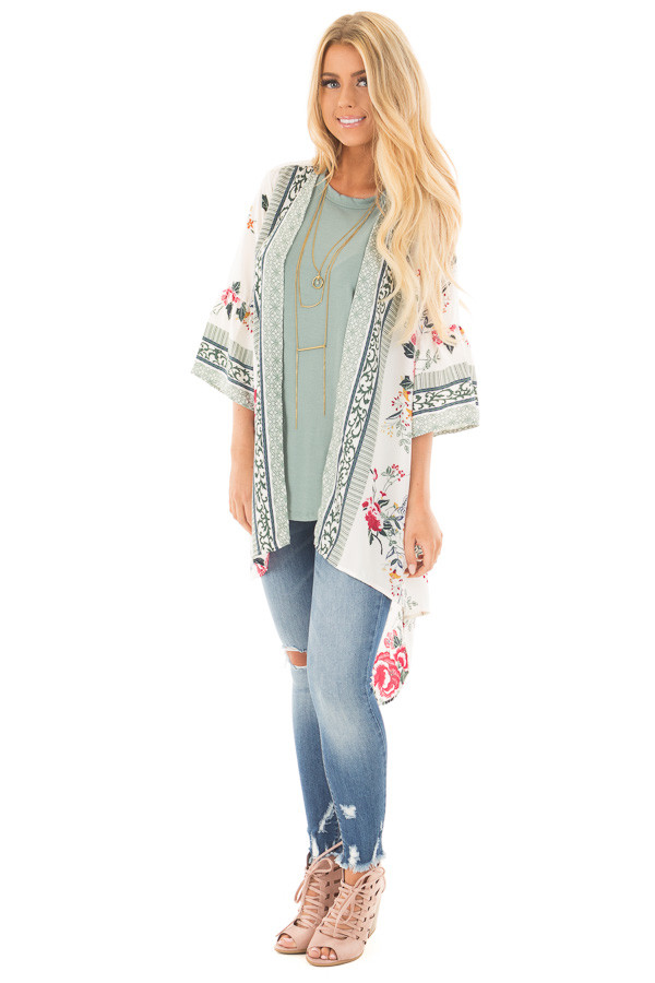 Ivory Floral Print Kimono with Patterned Border Contrast front full body