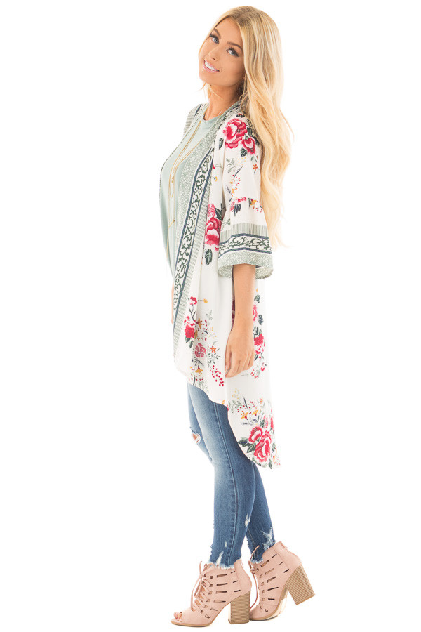 Ivory Floral Print Kimono with Patterned Border Contrast side full body