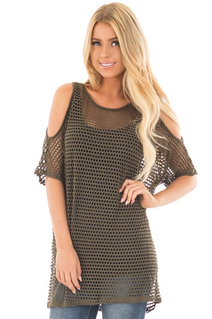 Olive Fishnet Cold Shoulder Tunic Top front close up
