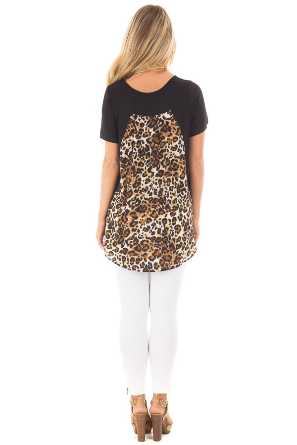 Black Short Sleeve Top with Leopard Print Pocket and Back back full body