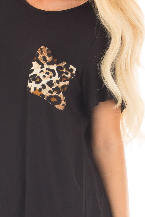 Black Short Sleeve Top with Leopard Print Pocket and Back detail