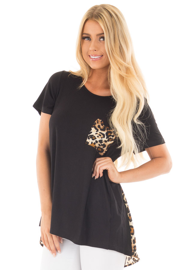Black Short Sleeve Top with Leopard Print Pocket and Back front close up