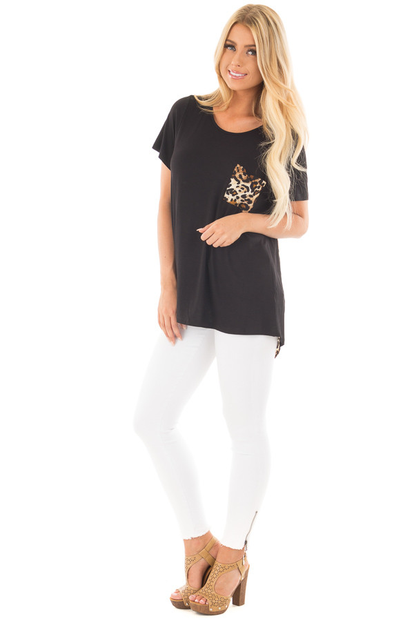 Black Short Sleeve Top with Leopard Print Pocket and Back front full body