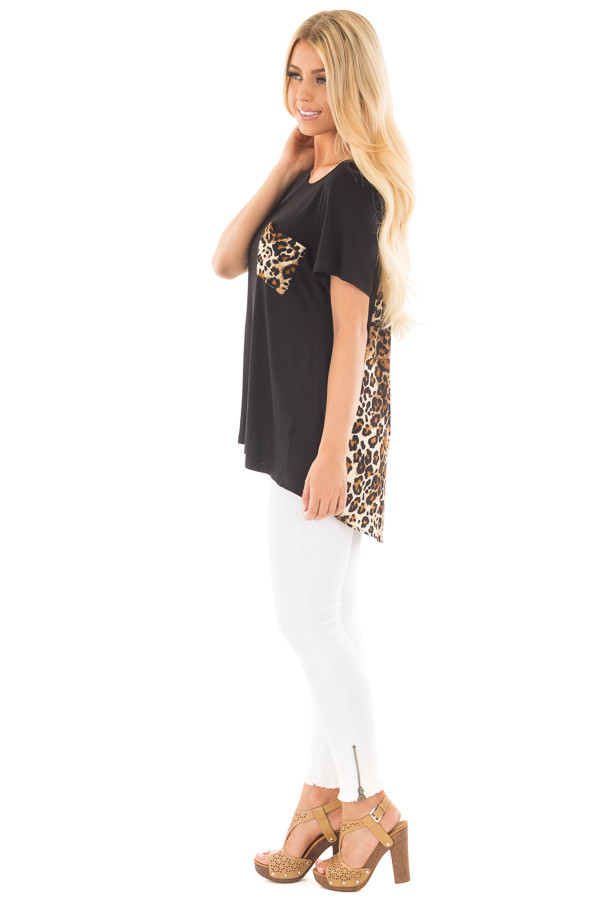 Black Short Sleeve Top with Leopard Print Pocket and Back side full body