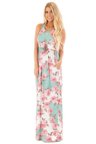 Ivory and Pink Racerback Slinky Maxi Dress with Side Pockets front full body