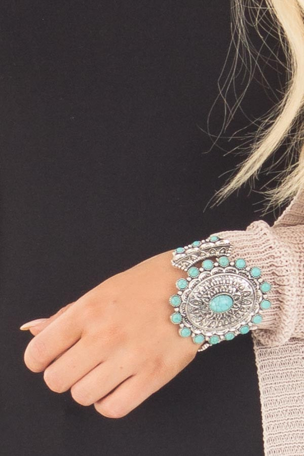 Silver Patterned Cuff Bracelet with Turquoise Details close