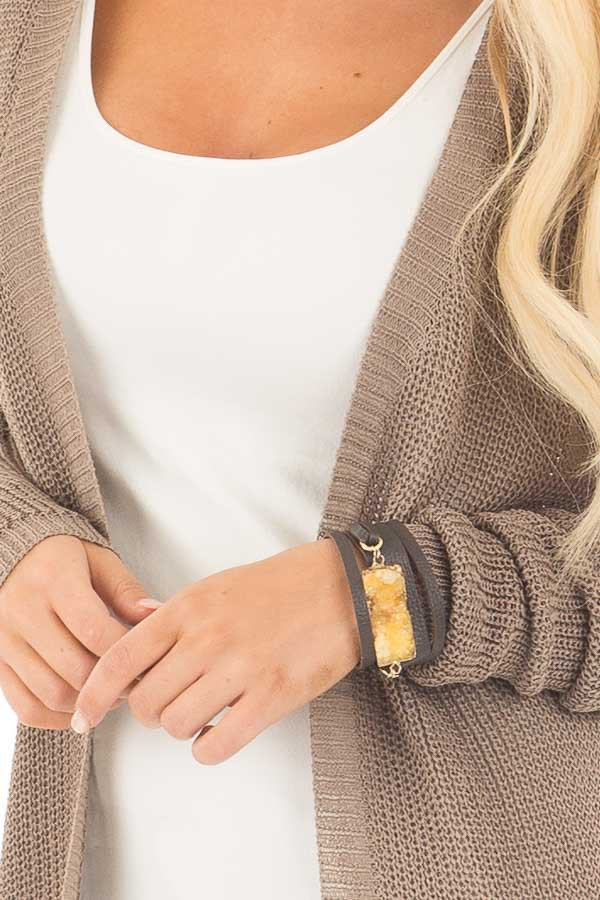 Brown Leather Snap Button Bracelet with Druzy Stone Detail close