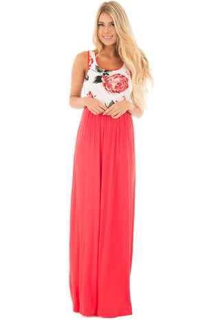 Bright Coral Floral Racerback Maxi Dress front full body