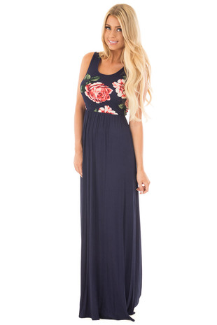 Navy Floral Racerback Maxi Dress front full body