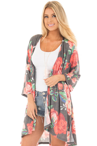 Charcoal Floral Print Jersey Knit Kimono with Side Slits front close up