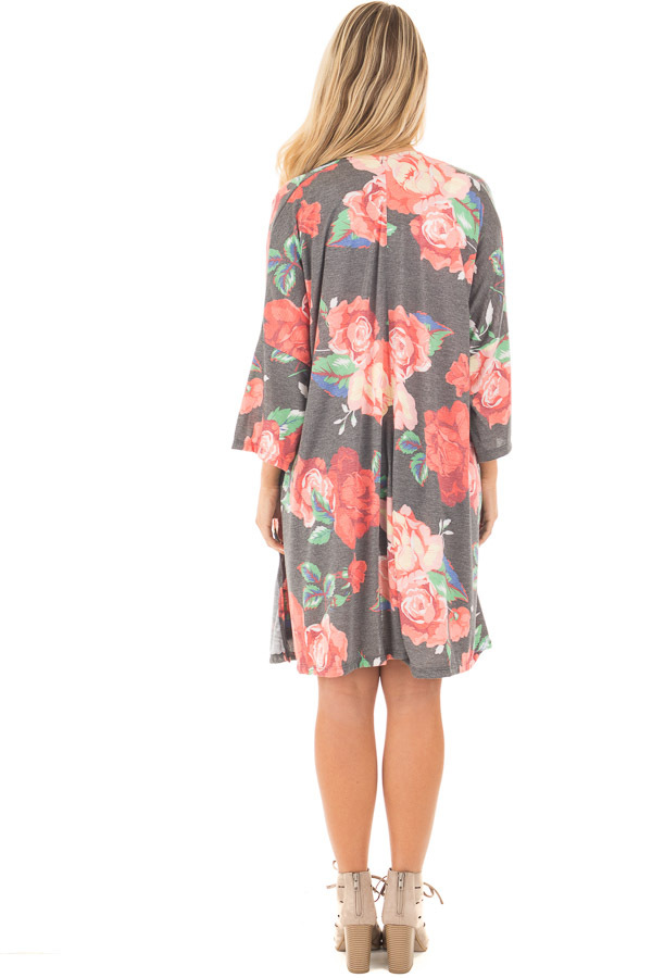 Charcoal Floral Print Jersey Knit Kimono with Side Slits back full body