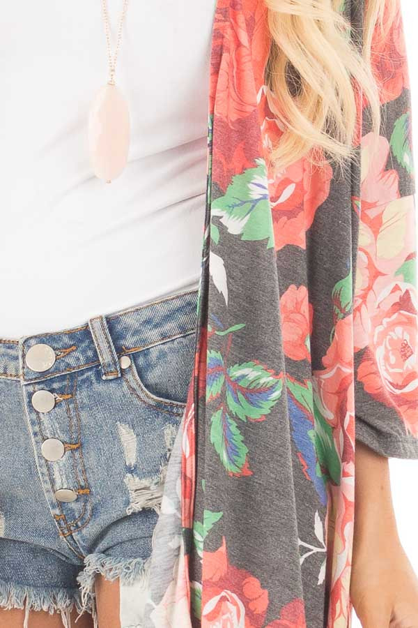 Charcoal Floral Print Jersey Knit Kimono with Side Slits detail