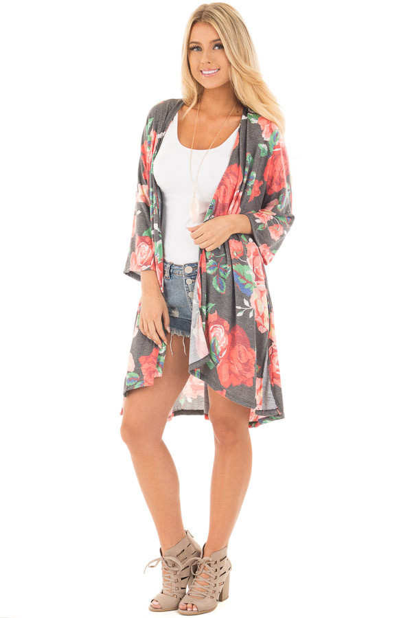 Charcoal Floral Print Jersey Knit Kimono with Side Slits front full body