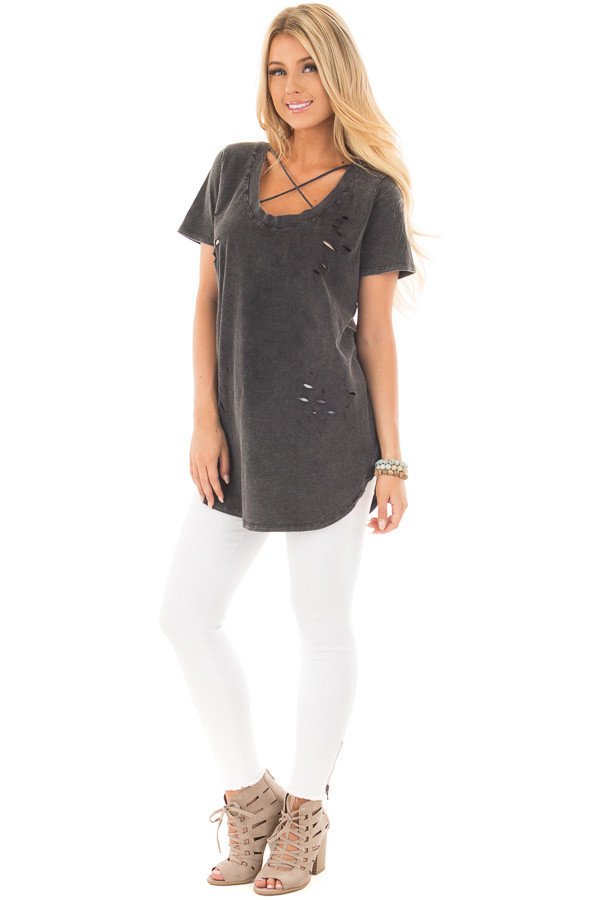 Charcoal Black Laser Cut Detail with Criss Cross Top front full body