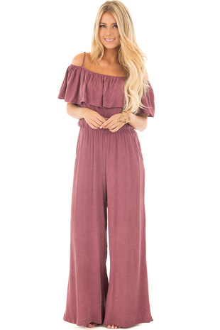 Wine Jumpsuit with Spaghetti Straps and Off Shoulder Neckline front full body