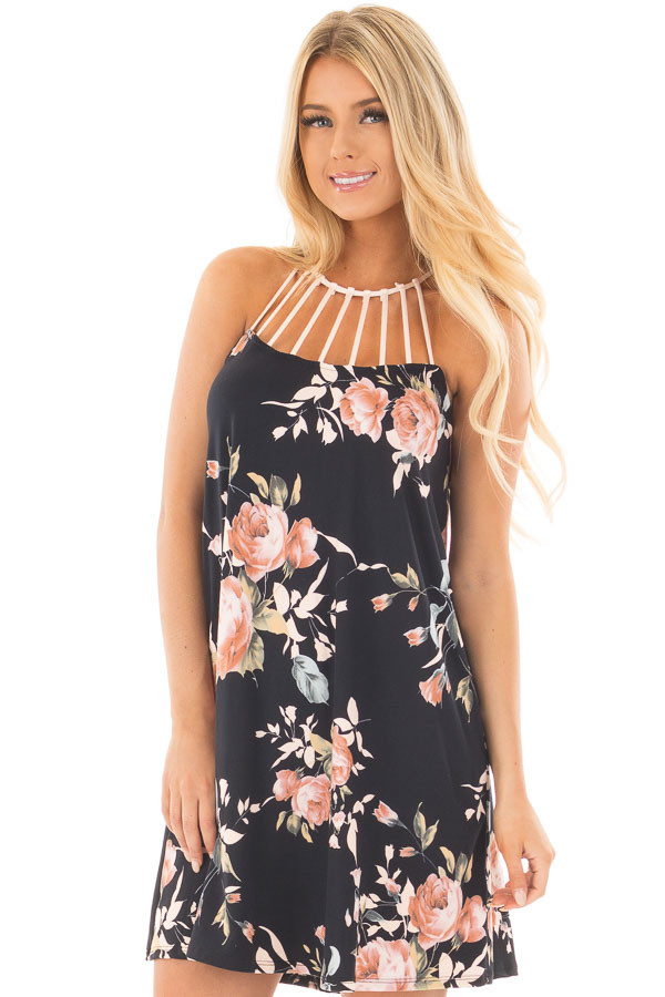 Black Floral Print Dress with Caged Neckline front close up
