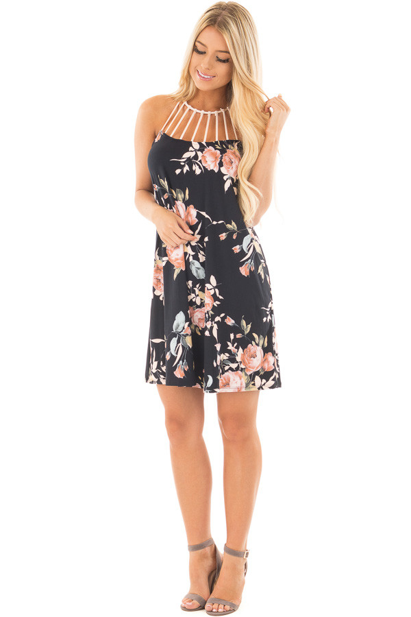Black Floral Print Dress with Caged Neckline front full body
