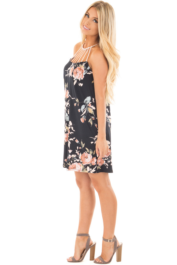 Black Floral Print Dress with Caged Neckline side full body