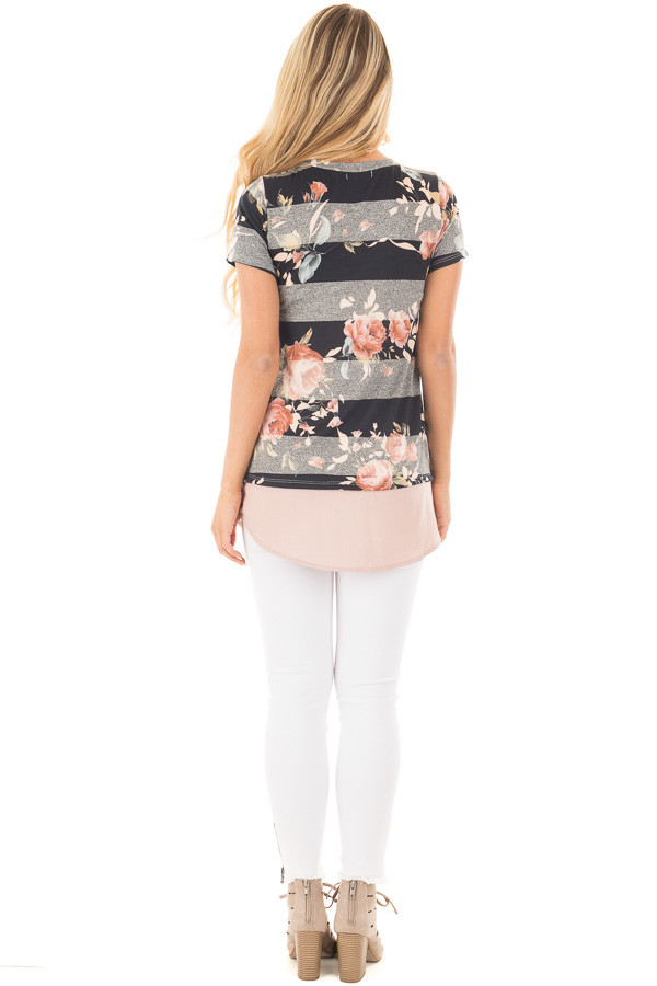 Black Floral Striped Tee Shirt with Blush Contrast Hem back full body