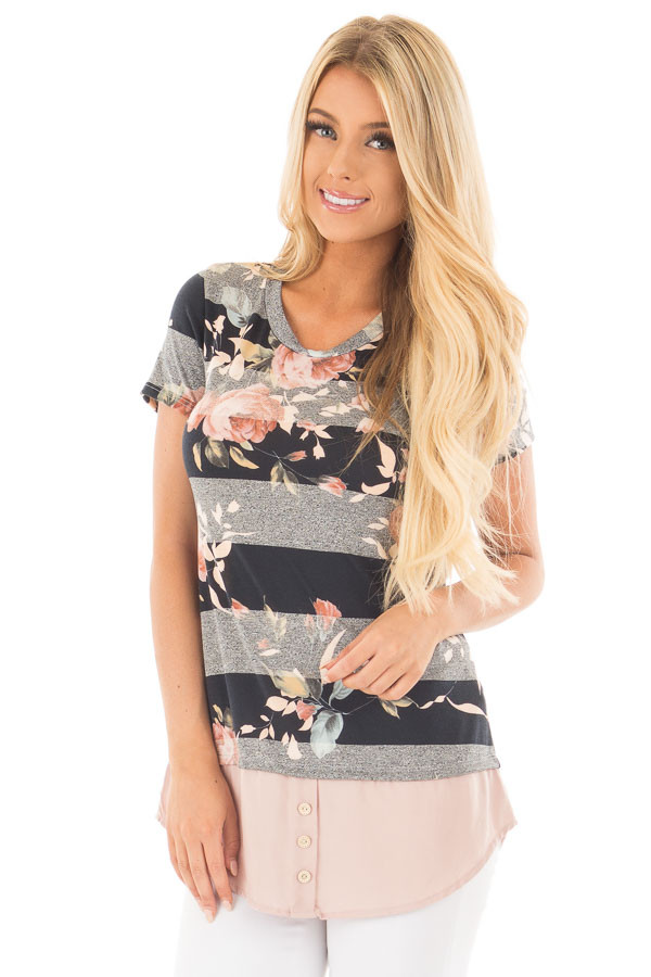 Black Floral Striped Tee Shirt with Blush Contrast Hem front close up