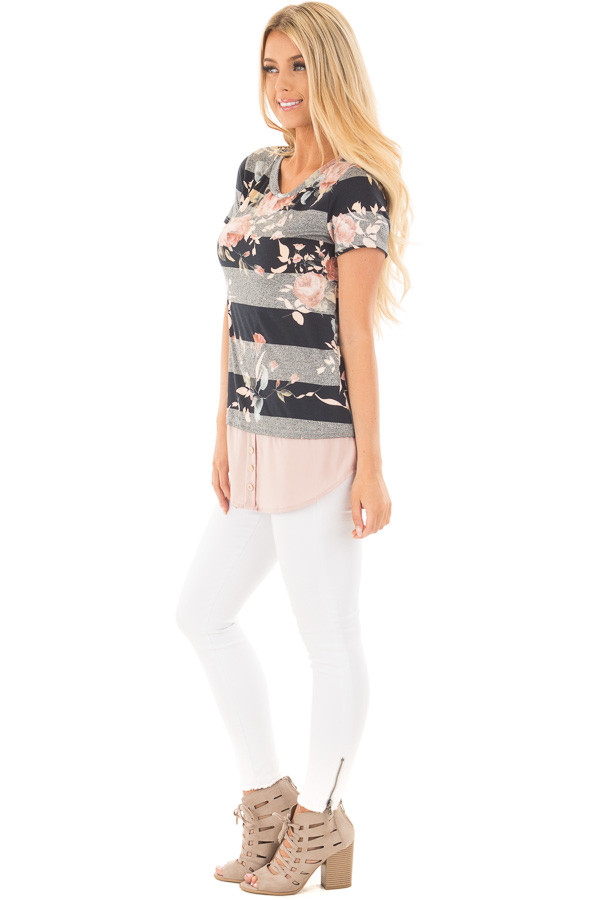 Black Floral Striped Tee Shirt with Blush Contrast Hem side full body