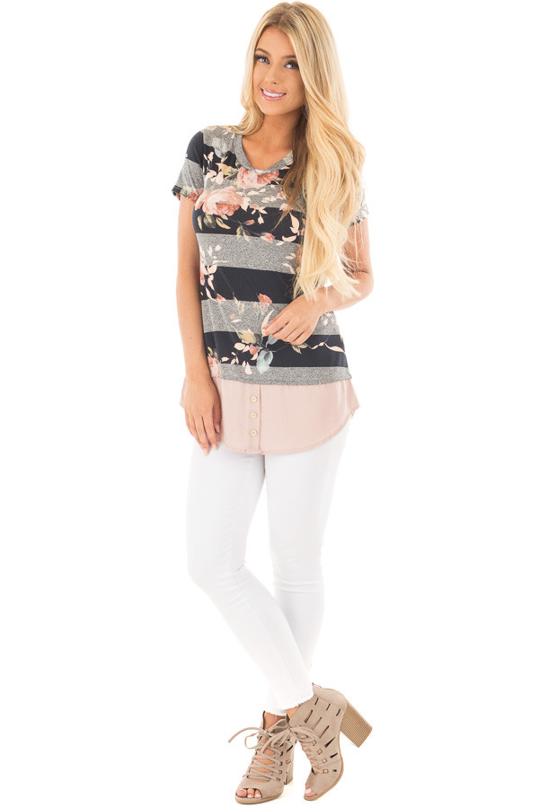 Black Floral Striped Tee Shirt with Blush Contrast Hem front full body
