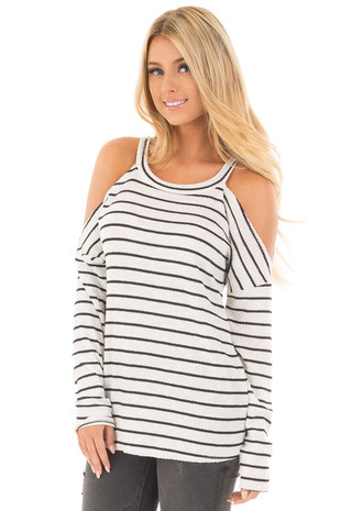 Off White and Black Striped Thermal Cold Shoulder Top front close up