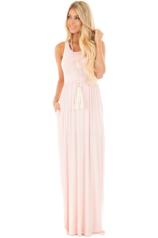 Pastel Pink Jersey Racerback Tank Maxi Dress front full body