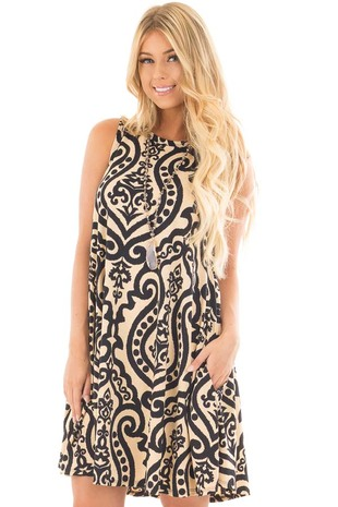 Taupe and Black Damask Print Swing Dress with Side Pockets front close up