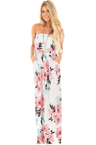 Off White Floral Print Strapless Maxi Dress with Pockets front full body