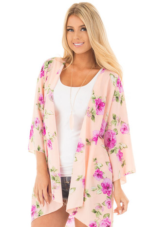 Blush and Lavender Floral Print Open Drape Kimono front close up