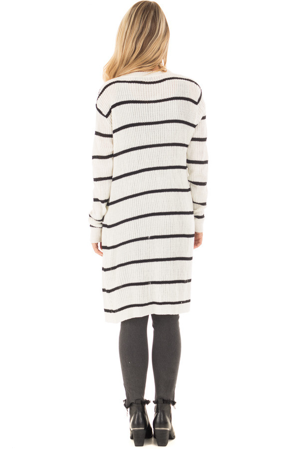 Black and Ivory Striped Long Open Cardigan | Lime Lush