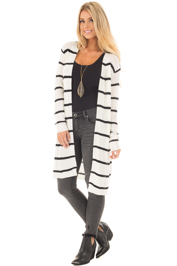 Black and Ivory Striped Long Open Cardigan front full body
