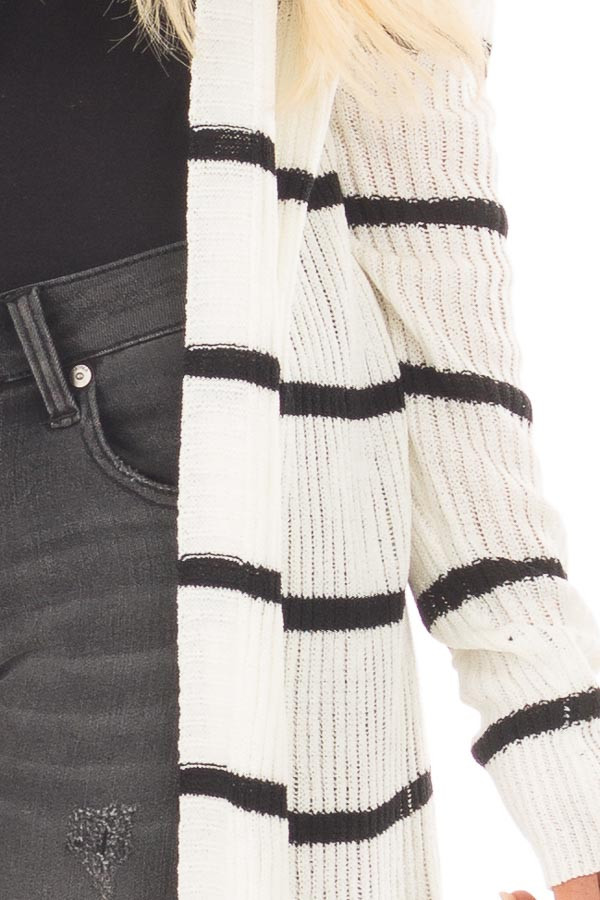 Black and Ivory Striped Long Open Cardigan detail