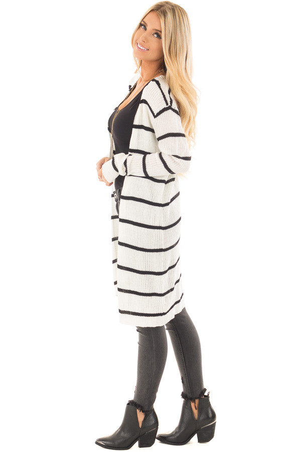 Black and Ivory Striped Long Open Cardigan side full body