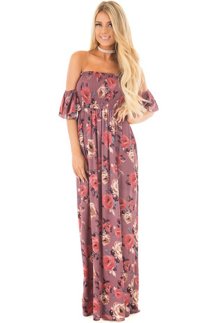 Dark Mauve Floral Print Off the Shoulder Smocked Maxi Dress front full body